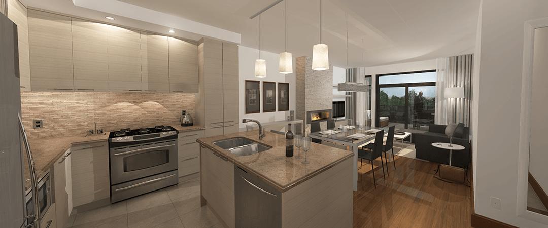 Les Terrasses Calixa-Lavallée - Cuisine, salle à manger, salon